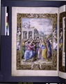 Full-page miniature of the Sermon on the Mount. Elaborate full border with human figures (NYPL b12455533-1610036).tif