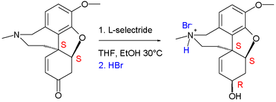 reduction of (−)-narwedine to (−)-galanthamine as the bromide