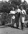 Garden, tableau, lady, men, poultry, squash, grape, apron, snocks, sandal, summer dresses Fortepan 26980.jpg