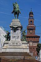 Garibaldi statue and Filarete tower at Castello Sforzesco, Milan.jpg