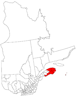 Map of Gaspésie–Îles-de-la-Madelaine in relation to Quebec.