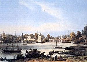 Glienicke Bridge - Glienicke Bridge, painting by Franz Xaver Sandmann, 1845