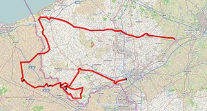 Gent–Wevelgem - Route map of the 2014 edition of Gent-Wevelgem.