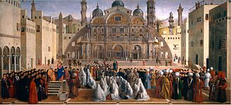 Gentile Bellini - Gentile and Giovanni Bellini, St. Mark Preaching in Alexandria, 1504–7; Oil on canvas; Pinacoteca di Brera, Milan