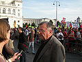 Genug ist Genug - Vienna 20090701 003 Pfarrer Josef Friedl who cared for the Zogaj family for several years, being interviewed.jpg
