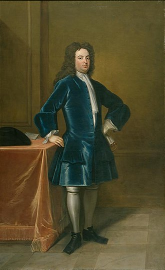 George Treby (politician) - George II Treby (c. 1684–1742), of Plympton House, Secretary of State for War 1718–1724. Portrait c. 1720, School of Godfrey Kneller (1646–1723). British Government Art Collection