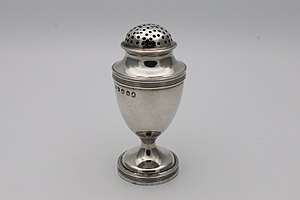 Salt and pepper shakers - Georgian silver pepper shaker, or pepperette, hallmarked London 1803