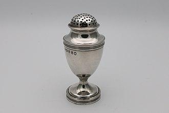 Salt and pepper shakers - Georgian silver pepper shaker, or pepperette, hallmarked London 1803