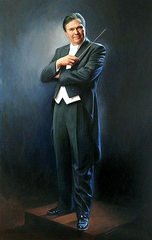"Gerard Schwarz - Portrait painting of Gerard Schwarz painted by artist Michele Rushworth, oil on canvas, 80"" x 50"", Benaroya Hall, Seattle"