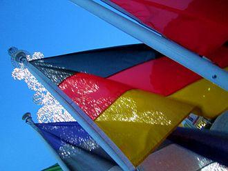 Cyprus–Germany relations - The German flag waiving outside Nicosia city hall during Christmas.