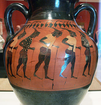 Greek chorus - Getty Villa – Storage Jar with a chorus of Stilt walkers – inv. VEX.2010.3.65