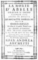 Giuseppe Giordani - La morte d'Abelle - titlepage of the libretto - Bologna 1786.png