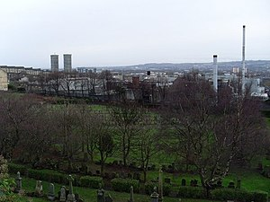 Wellpark Brewery - Tennent's Wellpark Brewery, next to the Glasgow Necropolis, with the Bluevale and Whitevale Towers and Celtic Park in the background