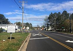 Mountain Road in Glen Allen, Virginia, with historical marker in the foreground