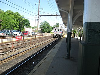 Glenside, Pennsylvania - A SEPTA Main Line train pulling out of Glenside