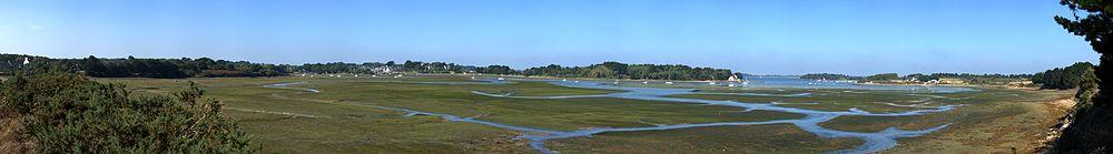 Panorama sur le Golfe du Morbihan à marée basse