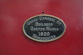 Gorton Locomotive Works - Gorton Works works plate from a GCR Class 11F locomotive