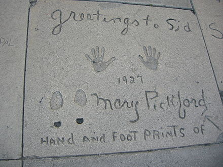 Pickford's handprints and footprints at Grauman's Chinese Theatre in Hollywood, California Grauman's Chinese Theatre, mary pickford.JPG
