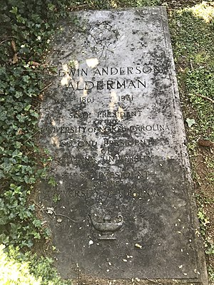 Edwin Alderman - Alderman's gravestone at the University of Virginia Cemetery in Charlottesville, Virginia.
