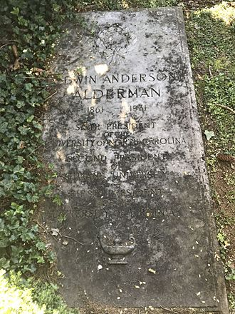 Edwin Alderman - Alderman's gravestone at the University of Virginia Cemetery in Charlottesville, Virginia.