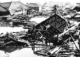 1960 Valdivia earthquake - Effect of the tsunami at Kamaishi, Japan