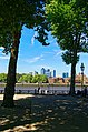 Greenwich - View NNW towards Canary Wharf Docklands - Old Royal Naval College.jpg