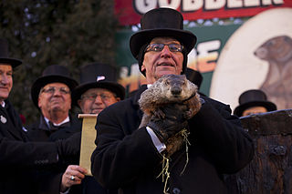 Photo of Grounghog Day from Gobbler's Knob in Punxsutawney, Pennsylvania.