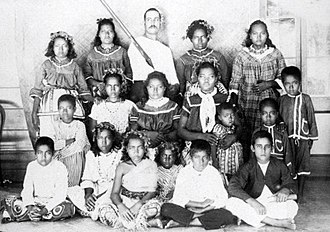 Swains Island - Group of young people and children from Swains Island, late 1886. Photographed by Thomas Andrew.