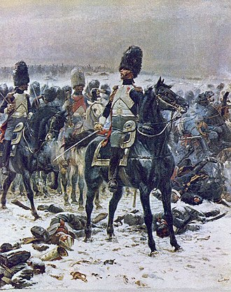 "Grenadiers à Cheval de la Garde Impériale - ""Heads up, gentlemen, these are bullets, not turds"". Colonel Louis Lepic harangues the Grenadiers à Cheval as they are forming for a charge under intense fire at the Battle of Eylau in 1807. Painting by Édouard Detaille at the Chantilly Museum."