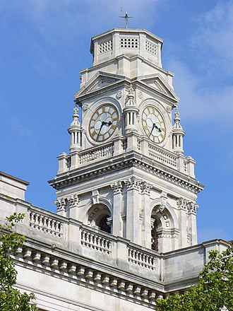 Portsmouth Guildhall - Detail of the clock tower