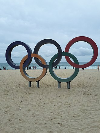 Gangneung - Olympic Rings in Gyeongpo Beach in May 2018