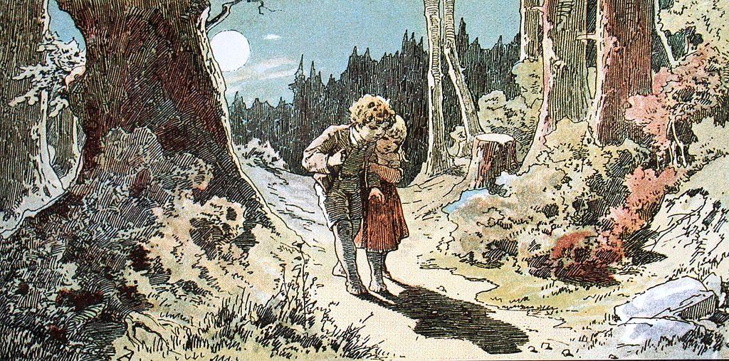 Hansel et Gretel dans le conte des Frères Grimm.