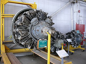"""Pratt & Whitney R-2800 Double Wasp - A """"C Series"""" R-2800, with the two section nose casing incorporating torque-monitoring equipment and a Spark Advance unit, with the """"outboard"""" sparkplug wiring conduit location for each of the twin enclosed distributors."""