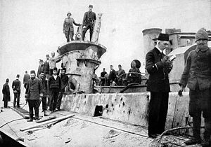 Wreck of the E15 inspected by Turkish and German personnel.
