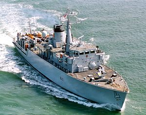Hunt-class mine countermeasures vessel - Image: HMS Quorn is pictured as she departs from Portsmouth. MOD 45139064