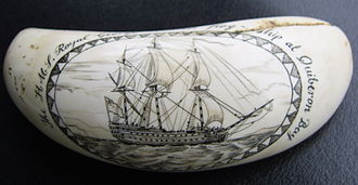 Battle of Quiberon Bay - HMS Royal George, Hawke's flagship at Quiberon Bay - Replica of walrus ivory
