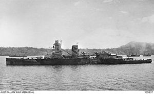 Bawean - The flagship of the Dutch navy, light cruiser De Ruyter, a few days before its sinking (February 1942).