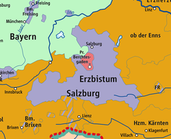 Salzburg territory (violet) in 1789, between Bavarian (green) and Habsburg (orange) lands