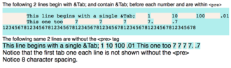 Tab key - example comparing Tabs within pre-formatted tags vs without pre-formatted tags