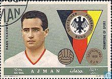 Francobollo del 1969 su cui è ritratto il portiere Hans Tilkowski
