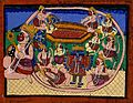 Hanuman kneeling with tail encircling Rama and Sita in bed, Wellcome V0044944.jpg