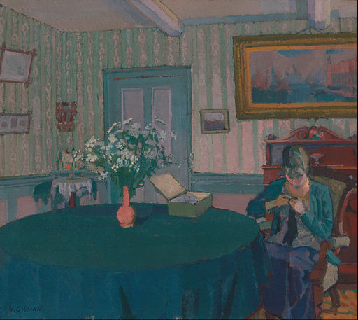 Sylvia Darning by Harold Gilman [Public domain or Public domain], via Wikimedia Commons