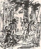 """""""Schiller liest die Räuber im Bopserwald"""", skizziert von Viktor Wilhelm Peter Heideloff (Quelle: Wikimedia)"""
