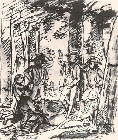 Эскиз Виктора фон Гейдэлёфа. «Шиллер читает Разбойников в Бопсерском лесу»