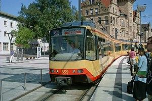 Heilbronn/Karlsruhe Stadtbahn train pulling in...