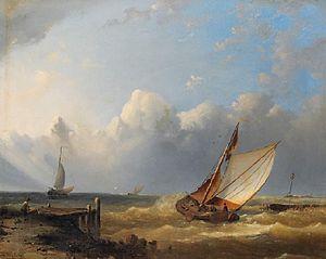 Hermann Eschke - Segelboote bei steifer Brise vor der Küste.jpg