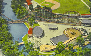 Hersheypark - A view of Hersheypark's amusement center circa 1950.