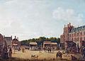 Het Buitenhof tijdens de Haagse kermis gezien naar de Gevangenpoort, met de stadhouderlijke familie door Hendrik Pothoven, 1781.jpg