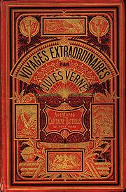 "A typical Hetzel front cover for a Jules Verne book. The edition is Les Aventures du Capitaine Hatteras au Pôle Nord, type ""Aux deux éléphants""."