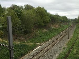 Hill 60 (Ypres) - Zillebeke, Belgium: tracks of Ypres-Comines railway, with Hill 60 on the left
